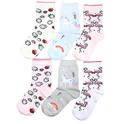 TupTam Kinder Socken Bunt Gemustert 6er Pack für Mädchen & Jungen, Farbe: Mädchen 5, Socken Größe: 31-34