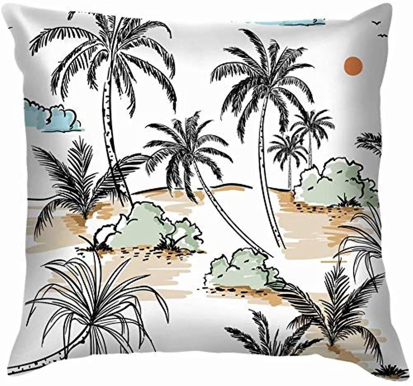 同僚ハイライトフルーツ野菜島のヤシの木の手描きのスケッチ投げ枕カバーホームソファクッションカバー枕ギフト45x45 cm