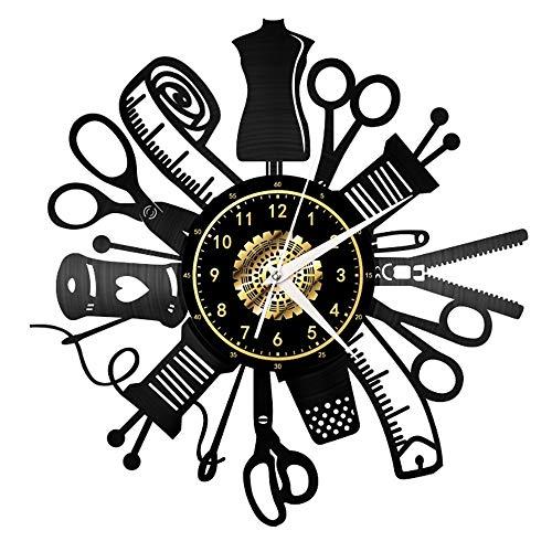 Reloj de pared de vinilo de costura, hecho a mano, reloj de pared negro, regalo único para hombres y mujeres para decoración de pared de cumpleaños