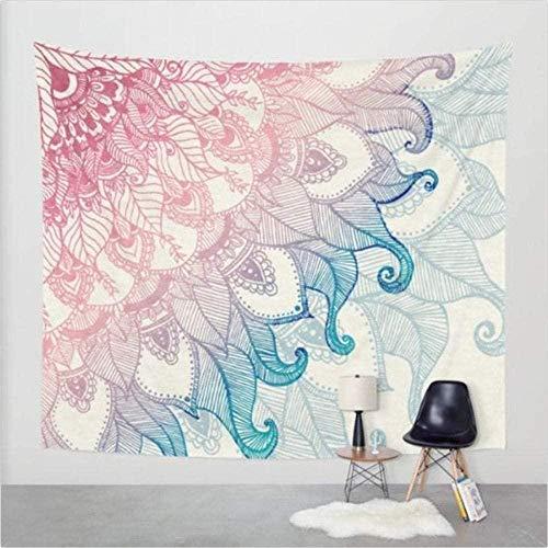 Yhjdcc Tapiz de mandala de loto con estampado de manta bohohang en color negro y azul alfombra de pared 150 cm x 200 cm