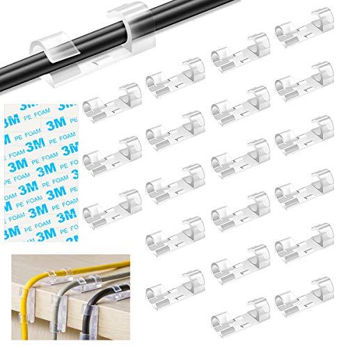 Organizador de Cables con Adhesivo, Ledeak 100PCS Clips de Plástico para Cables...