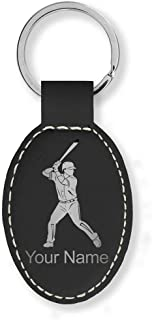 Oval Keychain, Baseball Player 2, Personalized Engraving Included (Black with Silver)