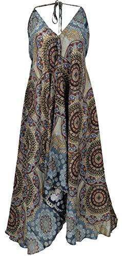 Guru-Shop - Vestido de verano boho, Magic Dress, Maxivestido, para la playa, para mujer, negro, sintético, talla: 40, ropa alternativa azul/gris 42