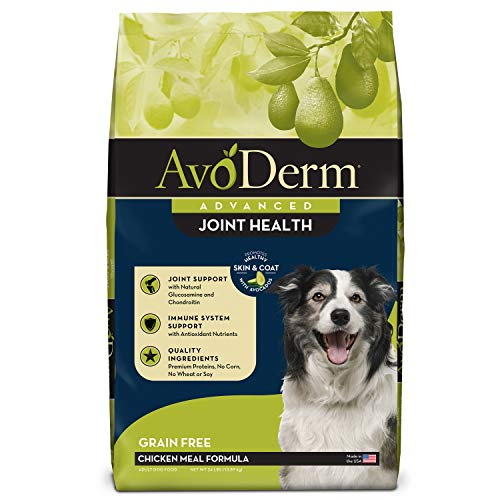 AvoDerm Natural Advanced Joint Health Dry Dog Food, Grain Free, Chicken Recipe, 24 lb