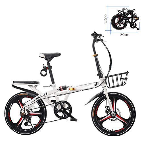 ZEIYUQI 20 Pulgadas Bicicletas Freno De Disco Bici Plegable Adulto Unisex Adecuado para El Trabajo,Blanco,A
