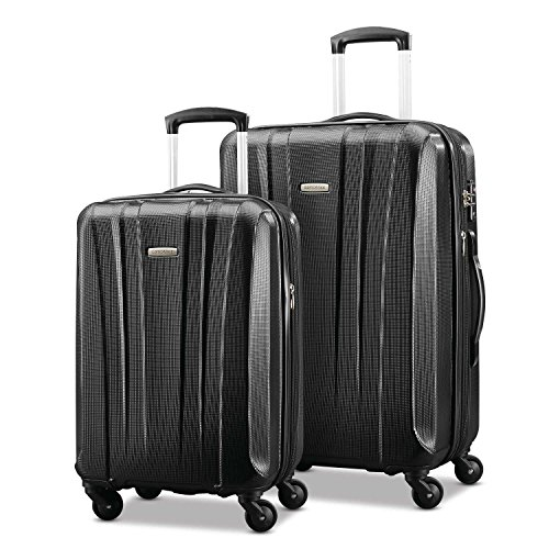 Samsonite Pulse Dlx Lightweight 2 Piece Hardside Set (20'/24'), Black, Exclusive to Amazon