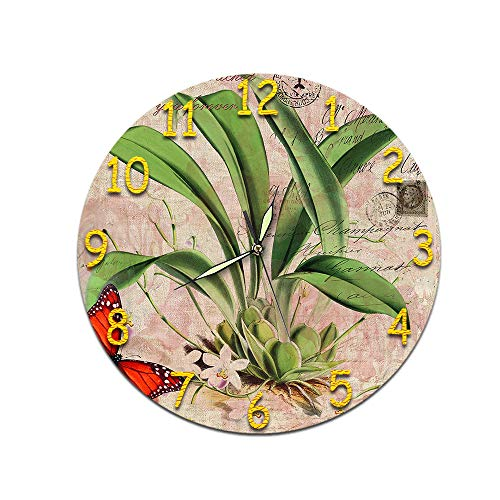 LUOYLYM Flores Sala De Estar Arte 3D Reloj De Pared Digital Acrílico Mudo Hogar Creativo Moda Reloj Redondo Espejo P190430-216 (Luminous Pointer) 28CM