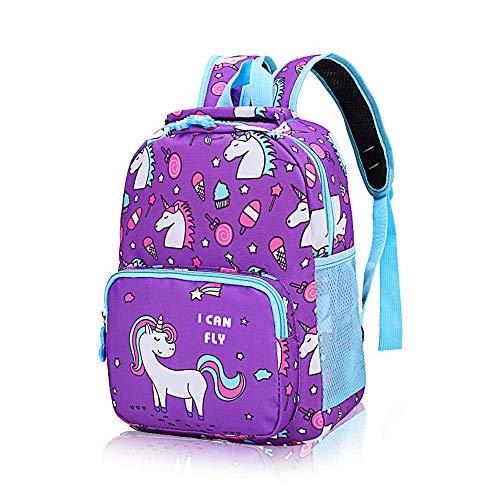 POWOFUN Kids Toddler Preschool Travel Backpack Kindergarten Cute Cartoon Schoolbag Backpack Unicorn Purple Backpack Bookbag