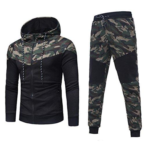 CICIYONER Herren Herbst Winter Tarnung Sweatshirt Oben Hose Sätze Sport Passen Trainingsanzug (L, Tarnung)