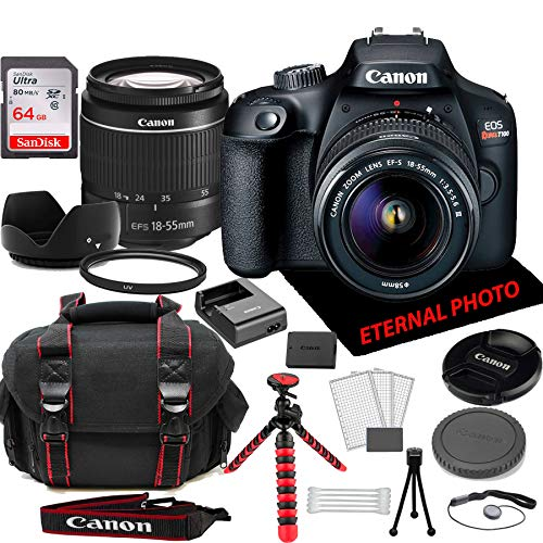 Canon EOS Rebel T100 DSLR Camera w/Canon EF-S 18-55mm Zoom Lens, 64GB Memory Card, Camera Case (20 Piece Bundle)