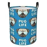 Pug Life - Cesta de lavandería redonda de tela Oxford para la colada, plegable, impermeable, cubo de almacenamiento sucio, fácil de transportar, S
