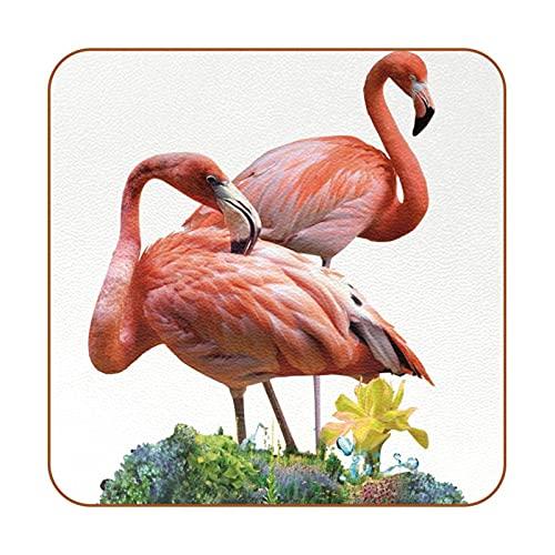Posavasos para Bebidas Flamenco Rojo Coasters Juego de 6 impresión Mug Mats para la Cocina Salón Bar Decoración Regalos de Diseño Creativo 10.3x10.3 cm