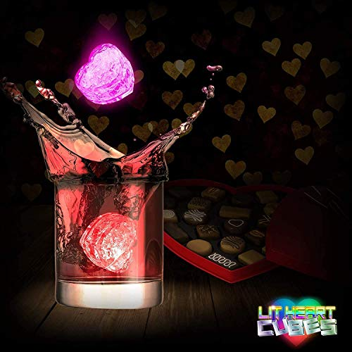 Lit Heart Cubes - (12 Pack) Premium LED Light Up Ice Cubes with 7 Color Light Settings and On and Off Switch by LIT NOVELTIES