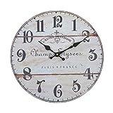 Reloj de pared - Elysees - reloj de cocina de madera con esfera grande de MDF, reloj retro en diseño de moda Shabby Chic con mecansimo de quarzo silencioso, Ø: 32 cm