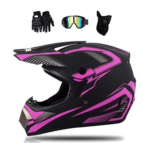ZHANG Motocross Helm Mit Brille Handschuhe Maske -Schwarz Matt Und Lila - Motorrad Crosshelm Damen Fullface Helm MTB Kind Off Road Cross Helm Motorradhelm (Größe : M)
