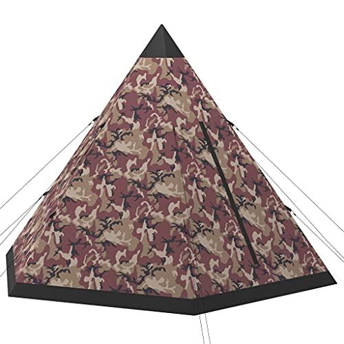 vidaXL Tienda de Campaña para 4 Personas Camping Carpa Senderismo Campamentos Festival Piramidal Impermeable Viaje Jardín Patio Exterior Multicolor