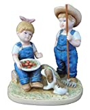 Homco Denim Days 5' Porcelain Figurine ; 'Summer Harvest' with Debbie & Danny