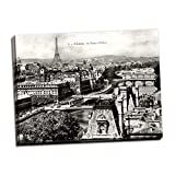 Stunning Black & White Photo of Paris and The Eiffel Tower; Printed on Canvas & Stretched on Wooden Bars (20x16) Ready to Hang on Your Wall!