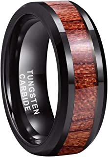 iTungsten 8mm Silver Black Rose Gold Tungsten Rings for Men Women Wedding Bands Koa Wood Inlay Matte Polished Comfort Fit