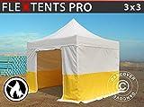 Dancover Tente Pliante Chapiteau Pliable Tonnelle Pliante Barnum Pliant FleXtents® Pro 3x3m, PVC, Tente de Chantier, Ignifuge, 4 parois latérales INCL.