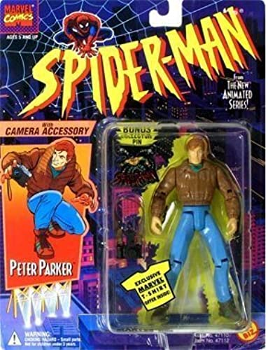 PETER PARKER  With Camera Accessory  1994 Spider-Man The New Animated Series Action Figure & Bonus Collector Pin by Toy Biz