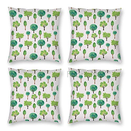 Pillow Covers 18 x 18 Inch Set of 4, Woods Watercolor Trees Forest Woodland Oak Chestnut Apple Nature Print, Sea Cinnamon Decorative Throw Pillow Case Cushion Cover for Sofa Couch Sofa Home Decor