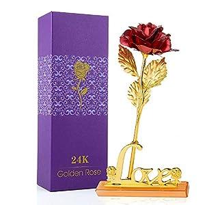 MOOKLIN ROAM Rosa, 24K Chapado en Oro Rosa Flores Artificiales con Caja de Regalo y Base, para San Valentín, Día de la…