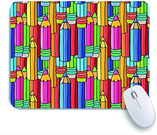 Dekoratives Gaming-Mauspad,Bunte Bleistifte,Bürocomputer-Mausmatte mit rutschfester Gummibasis