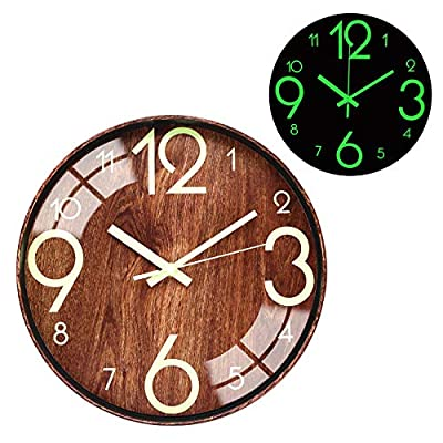 BECANOE Night Light Function Wall Clocks Wood Grain 12 Inch Silent Non Ticking Quartz Battery Operated Round Easy to Read Home/Kitchen/Office/School Decorative Clock