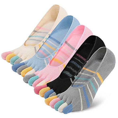 LOFIR Zehensocken Damen 5 Finger Socken Bunte Socken aus Baumwolle Anti-Rutsch Socken mit Zehen Sneaker Socken für Mädchen, Größe 35-41, 5 Paare