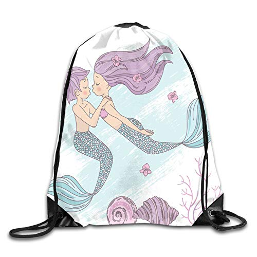 Drawstring Bag Sport Gym Sackpack-Cartoon Of Lovely Underwater Couple With Fish Tails,Drawstring backpack Mouth Gym Sack Rucksack Shoulder Bags For Men & Women