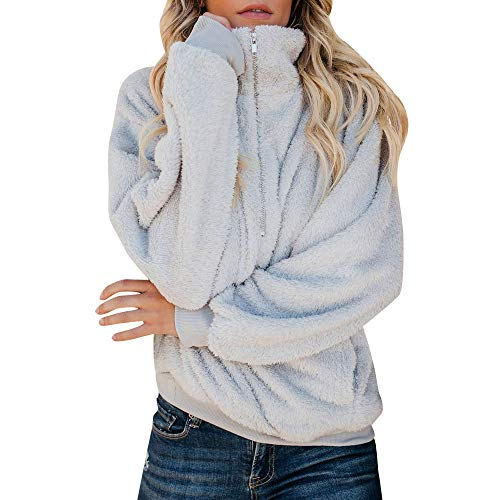 Ncenglings Damen Plüschjacke Nachgemachte Kaschmir Warme Teddy-Fleece Jacke Mantel mit Reißverschluss für Herbst Winter