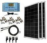 WindyNation 300 Watt (3pcs 100 Watt) 12V Solar Panel Off-Grid RV Boat Kit w/LCD P30L Solar Charge Controller + Solar Cable + PV...