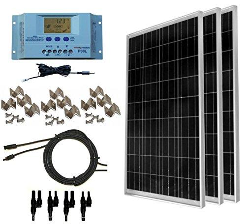 WindyNation 300 Watt (3pcs 100 Watt) 12V Solar Panel Off-Grid RV Boat Kit w/LCD P30L Solar Charge Controller + Solar Cable + PV Connectors + Mounting Brackets