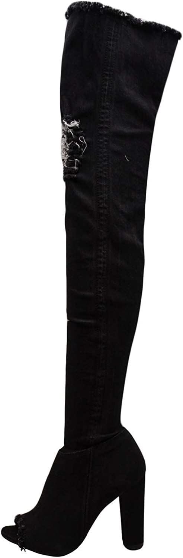 BAMBOO Limelight-60S Over Knee Blue Denim Jean Boots Destroyed Torn Shaft Frayed Trim