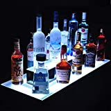 Nurxiovo LED Liquor Bottle Display 31 Inch LED Display Shelf Lighted 2 Step Island Illuminated Bottle Shelf with DIY Mode,Remote Control,Color Changing for Party Home Bar L31.5xW17xH8''