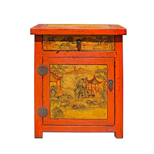 Review Of Chinese Oriental Distressed Orange Scenery Graphic End Table Nightstand Acs5842