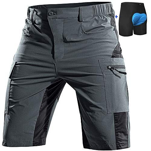 Cycorld Mountain-Bike-Shorts-Mens-Padded MTB Biking Baggy Cycling Short Removable Padding Liner with Zip Pockets(Grey, XX-Large)