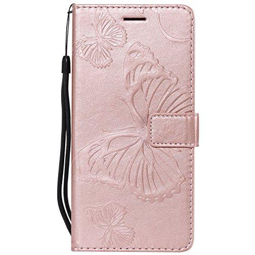 Vectady für Huawei Honor 6A Hülle, Handyhülle Flip Case Cover für Huawei Honor 6A Schutzhülle Tasche Hüllen Leder Handytasche Magnet Geldbörse Klapphülle für Huawei Honor 6A,Rose Gold