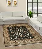 TrendyLiving4U - Alfombra para salón, pelo corto, Ghazni, hecha a mano, 180 x 216 cm, color negro y beige