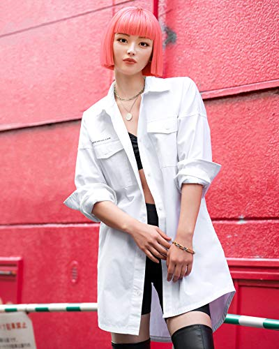 The Drop Chemise pour Femme, Coupe Oversize, Blanc Éclatant à Imprimé Graphique, par @imma.gram
