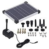 Atyhao Kit de Bomba de Agua de Fuente Solar, Bomba de Agua Solar de 17 V / 10 W sin Enchufe DC Fuente de energía Solar para Fuente, Estanque de Peces, Acuario