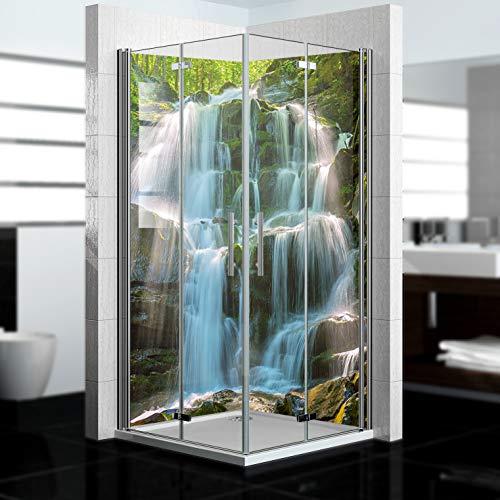 dedeco Eck-Duschrückwand wasserfest mit Wasserfall V6 Motiv - 2 x 90x200cm, als Badrückwand zum Fliesenersatz, als Dekorwand, Wandverkleidung und Duschplatte aus Aluminium - Made in Germany