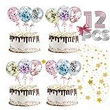 Cake Topper Globos, 12 Piezas Confeti Globos de Tartas Topper de Pastel Torta Toppers de Cumpleaños Cupcake Topper, para Aniversario, Cumpleaños, Decoración del Hogar