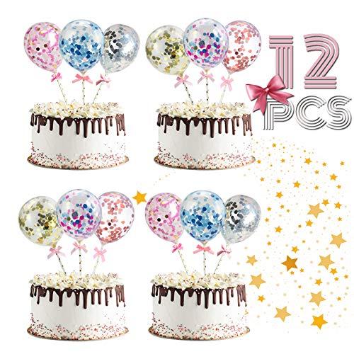 ETHEL Cake Topper Ballon 12 Pcs Pailletten Ballons Kuchen Dekorieren Cupcake Topper Cake Topper Deko Geburtstag Ballons für Mädchen Kinder Party