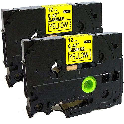 NEOUZA TZ-Fx631 TZe-Fx631 TZe-Fx631 Flexibles ID-Kabel, kompatibel mit Brother P-Touch TZ, laminiert, 12 mm x 8 m, Schwarz auf Gelb, 2 Stück