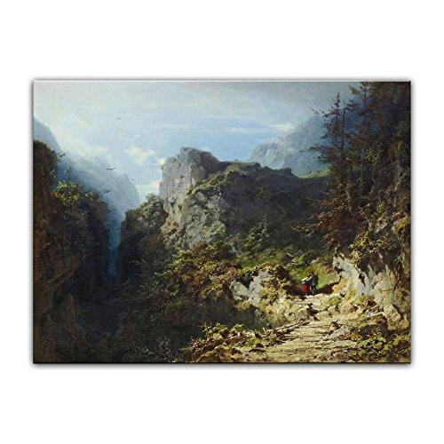 Kunstdruck Poster - Carl Spitzweg Berglandschaft mit Liebespaar (Jäger und Mädchen) 60x40 cm ca. A2 - Alte Meister Bild ohne Rahmen