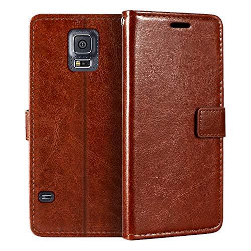 Funda tipo cartera para Samsung Galaxy S5 i9600 (piel sintética, cierre magnético, tarjetero, función atril)