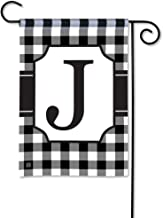 BreezeArt Studio M Black & White Check Monogram J Decorative Garden Flag – Premium Quality, 12.5 x 18 Inches