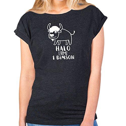 JUNIWORDS Damen T-Shirt -Halo i bims 1 Bimson - große Auswahl an Motiven - Größe: S - Farbe: Anthrazit